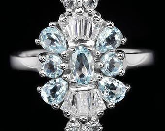 Massif_Vraie Marine_Non traitee_diamants CZ_T53 aquamarine silver ring.