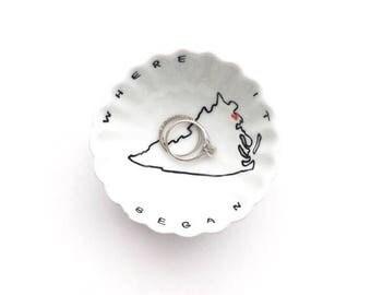 Personalized engagement gift, wedding ring holder, engagement gift, engagement ring dish, ring dish, state ring holder, wedding gift