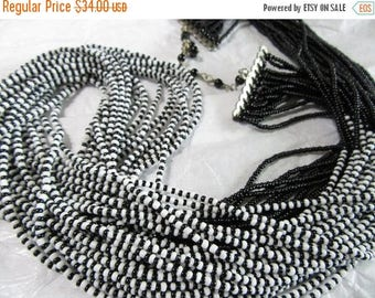 ON SALE Black White Statement Necklace Seed Bead Full Stylish Long Vintage