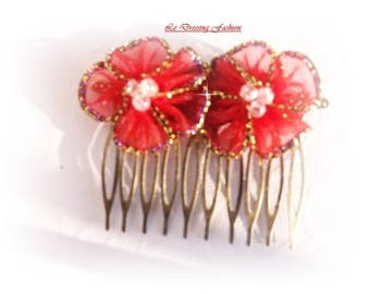 """""""Red Flowers"""" Hair Combs"""