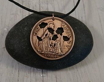 Poppy necklace, Poppy Jewelry, vintage British bronze coin, Poppies, remembrance, Poppy field jewellery, War, Peace, Wild flowers,