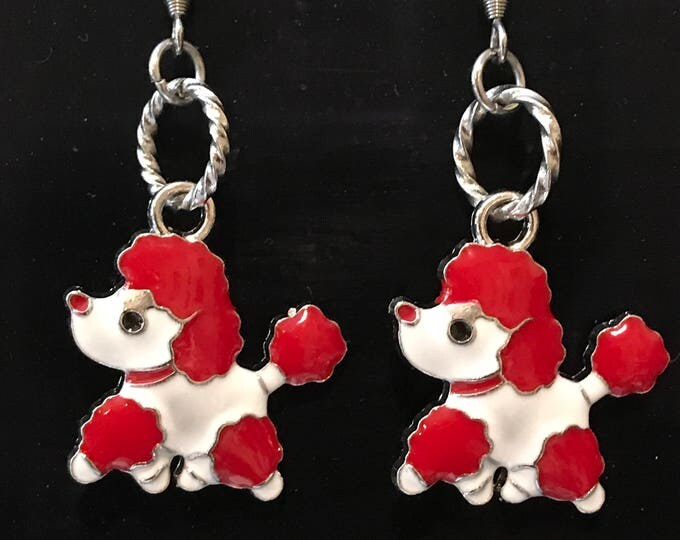 Poodle lover earrings- dog memorial ~ gift red & white