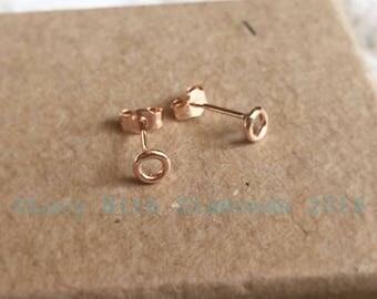 9ct Rose Gold Dainty Circke Stud Earrings