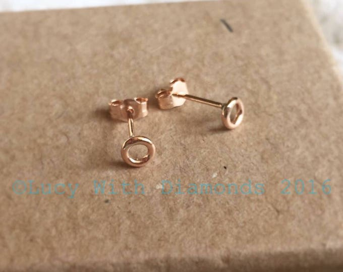 9ct Rose Gold Dainty Circke Stud Earrings