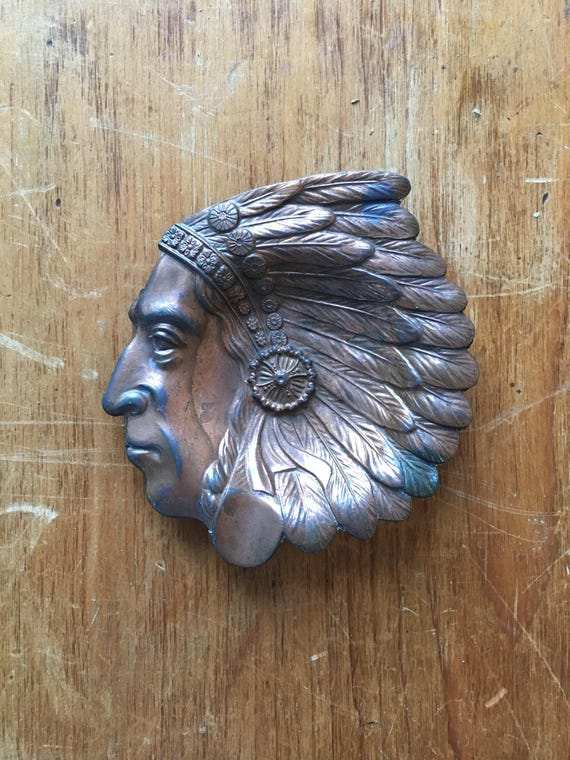 Small Vintage Copper Indian Head Ashtray, Indian Chief Trinket Dish, Ring Dish, Jewelry Dish, Copper Decor, Southwestern Decor