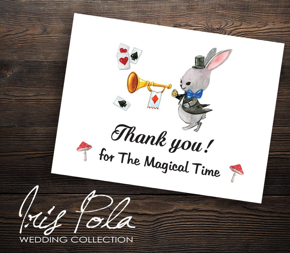 Printable DIY, Alice in Wonderland Thank you Card, Birthday Party ...