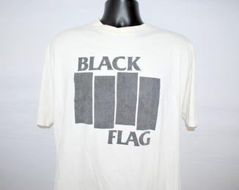90's Black Flag Vintage Hardcore Punk Rock Band Classic Bars Logo Promo T-Shirt