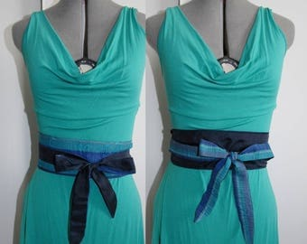 belt to tie 51 reversible jacquard blue crinkled stripes pattern
