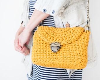 Women's Crossbody Bag / Handmade Crochet Shoulder Bag / Cotton Yellow Crossbody / Summer Crochet Bag with Chain Handle