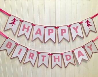 Happy Birthday Banner, Ballerina Birthday Banner, Pink and White Banner