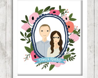 Custom Portrait Illustration in Floral Wreath | Couple Illustration | Family Portrait | Gift Idea | Newlyweds | Wedding Gift