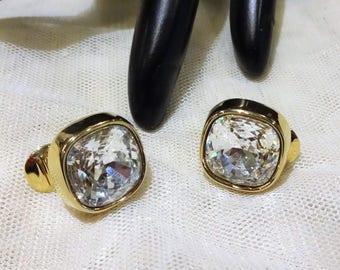 Vintage Monet Square Shaped Crystal Earrings