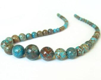 """15"""" 6mm 12mm Rainforest Jasper GRADUATED Round blue brown gemstone Beads"""