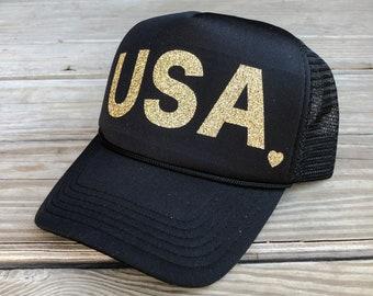 USA... Glitter Snapback Trucker Hat, Hats, Cap, Caps, One Size, Baseball, Yoga,  workout hat, Military