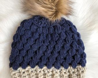 Adult small fur pom hat navy