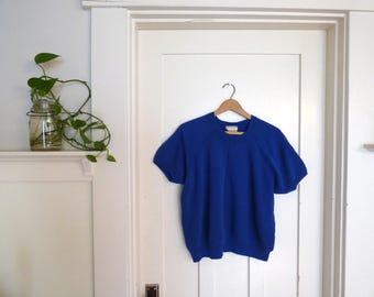 Soft Vintage Raglan Sweatshirt / Blue Short Sleeve Raglan Sweatshirt