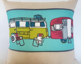 Vintage Retro Kombi van Caravan trailer linen cushion cover camping pillow