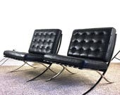 RESERVED Vintage Barcelona Chairs / Pair of Two Matching Black Leather Knoll Mies Van Der Rohe Chrome Frame Modern Retro Atomic Era Regency
