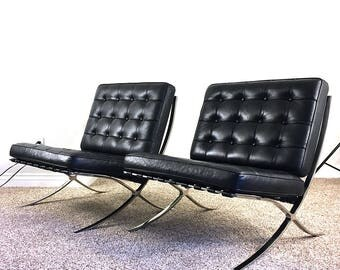 Vintage Barcelona Chairs / Pair of Two Matching Black Leather Knoll / Mies Van Der Rohe Chrome Frame Modern Retro Atomic Era Regency Chairs