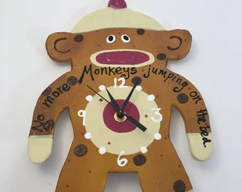 Clock,Sock  Monkey Wall Clock , Kids room, No more MONKEYS  jumping on the bed! Children's Clock,  Unique wall clock
