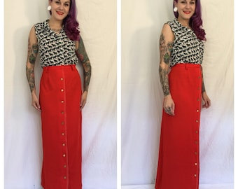 FLASH SALE Vintage 1960's Red Maxi Skirt