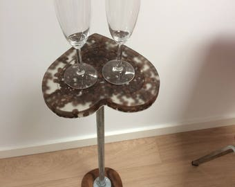 Epoxy Side Table Wooden base