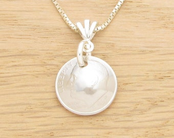 For 20th: 1998 US Dime Necklace Coin Jewelry 20th Birthday or 20th Anniversary Gift Coin Jewelry