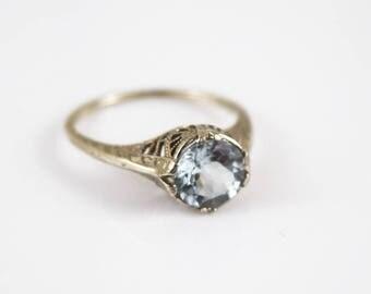 AQUAMARINE RING 14K White Gold 2 ct Filigree Size 5.75 Antique Engagement