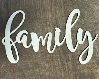 Family Laser Cut Wood Word, Wood Sign, Dining Room Decor, Farmhouse Decor, Home Decor, Collage Wall