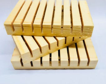 Wooden Soap Dish White Pine Wood Slotted Wood Platform Wooden Palleted Soap Holder Gift For Her Gift For Him Spa Gift Hostess Gift Birthday