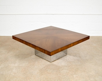 Mid Century Coffee Table, Modern Coffee Table, Milo Baughman for Thayer Coggin Walnut and Chrome Coffee Table, Vintage