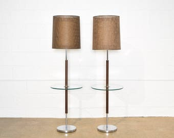 Mid Century Floor Lamp, Mid Century Modern Chrome Floor Lamp with Glass Table and Mesh Shade, Matching Pair Available