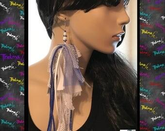 Leather earring,lace earring,statement earring,fabric earring,blue earring,white earring,handmade earring,custom made earring