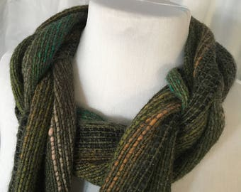 Forest Green Handwoven Scarf, Green Scarf, Warm Scarf, Hand Woven Scarf, Woven Scarf, Handmade Scarf, Cozy Scarf, Unique Scarf