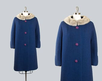 Vintage 1960s Coat | 60s Blue Wool Mink Fur Collar Swing Coat Car Coat (large)