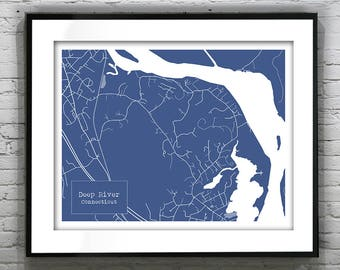 Deep River Connecticut Blueprint Map Poster Art Print - Several Sizes Available