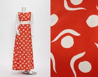 red + white gown vintage 1960s • Revival Vintage Boutique