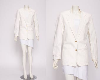 white denim/cotton blazer by Moschino vintage 1990s • Revival Vintage Boutique