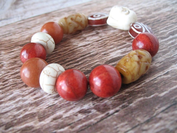Bead Bracelet in Earthy Tones with Textured Jade, Howlite Buddha, Sponge Coral, Rose Quartz and Brass African Lost Wax Casting Beads
