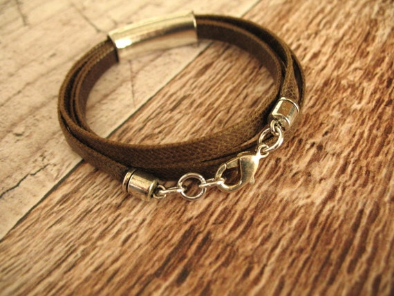 Wrap Bracelet in Flat Brown Mokuba Cord with Silver Accent Tube Bead and Lobster Clasp, Bohemian Bracelet, Unisex Bracelet, Organic Bracelet