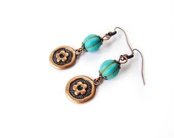 Gardening Gift Turquoise Copper flower charm Girlfriend gift for sister Stone dangle earrings Howlite bead earrings Colorful Boho Wife gift