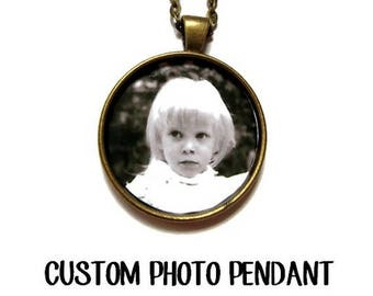 Personalized photo Necklace,CUSTOM PHOTO PENDANT Photo of Your Baby Child Mom Dad Grandparent Gift for Family Member Best Friend Gift