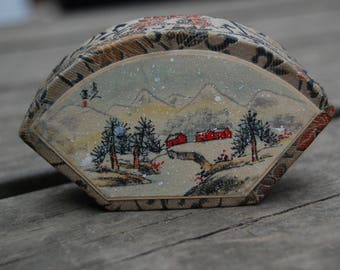 Fabric Trinket Box Made In The People's Republic of China Winter Scene - Chinese Art - Chinese Winter Farm Scene Trinket Dresser Desk Box