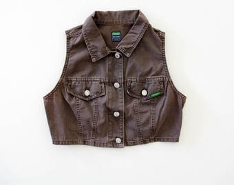 Vintage Crop Top // Brown Benetton Cropped Jean Vest