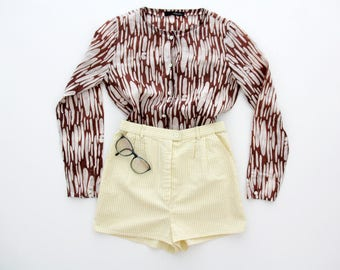 Vintage Shorts // White and Yellow Striped Shorts // Textured Fabric Highwaisted Shorts