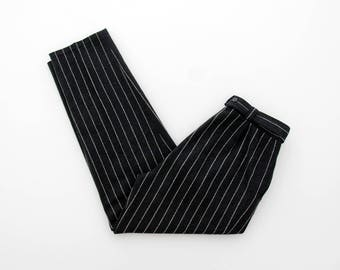 Vintage Pants // Black and White High Waist Tapered Pants // Striped Pants
