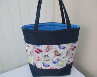 Tote bag/market bag/shopper/everyday work tote/ denim shopping bag. Stilletto and denim tote.Holiday bag.