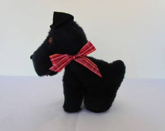 Cute Vintage Black Plush Stuffed Scotty Dog w Red Plaid Bow Amber Eyes Made in USA