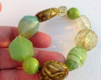 Bracelet-  in sage green and lime green marbled and transparent plastic bead necklace