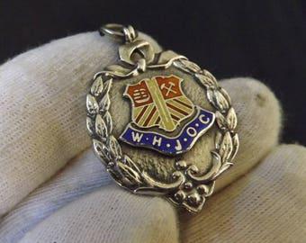 Vintage  Sterling Silver and Enamel Pocket Watch Fob Medallion 1933